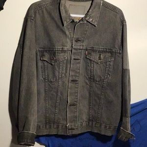 oversized, distressed dark wash jean jacket